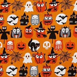 Tissu Coton Cretonne Hiboux Halloween- Orange