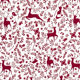 Tissu Popeline Animaux et Noël - Rouge bordeaux