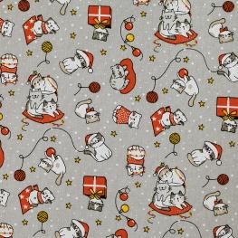 Tissu Coton Chat de Noël - Gris