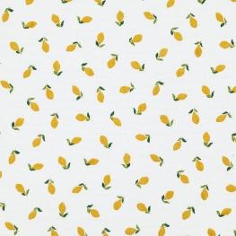 Tissu coton double gaze Citron - Blanc