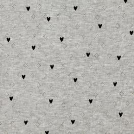 Tissu Jersey Coeur Maille ajourée Diamond - Gris