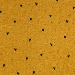 Tissu Jersey Coeur Maille ajourée Diamond - Moutarde