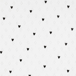 Tissu Jersey Coeur Maille ajourée Diamond - Blanc