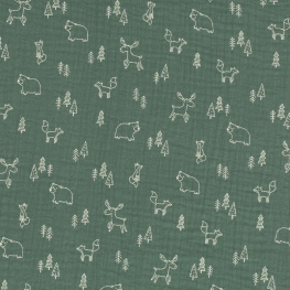Tissu coton double Gaze Animaux & Forêt - Vert