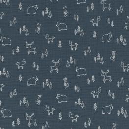 Tissu coton double Gaze Animaux & Forêt - Bleu