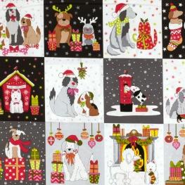Coupon Tissu Panneau Coton Chien & Noël