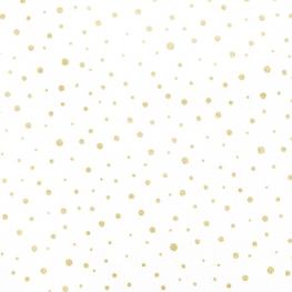 Tissu Popeline Pois Doré - Blanc