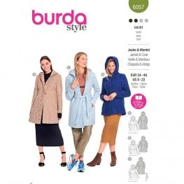 Patron Manteau, veste avec coutures de découpe et capuche - Burda 6057