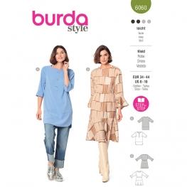 Patron Tunique avec parements et fentes arrondies / robe à volants et coulisse élastiquée à la taille - Burda 6060