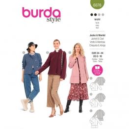 Patron Veste, manteau – sans col ou à col droit - Burda 6076