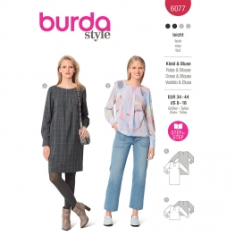 Patron Robe et blouse dans une coupe droite avec poignets - Burda 6077