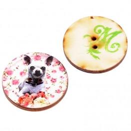 Bouton bois chien à l'unité - Fabrication artisanale