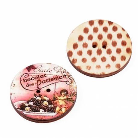 Bouton bois chocolat à l'unité - Fabrication artisanale