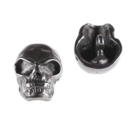 Bouton tête de mort noire en métal