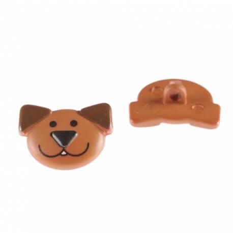 Lot de 2 boutons tête de chien - Marron