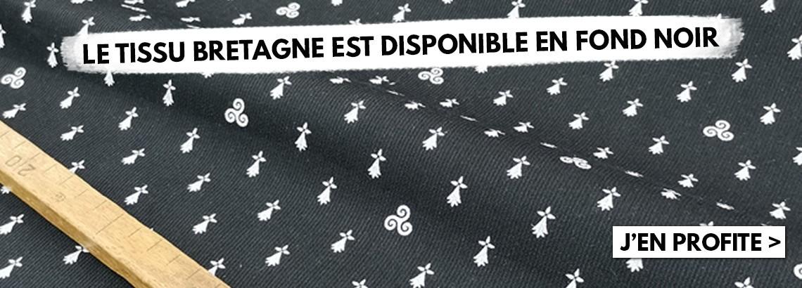 Tissu Bretagne fond noir