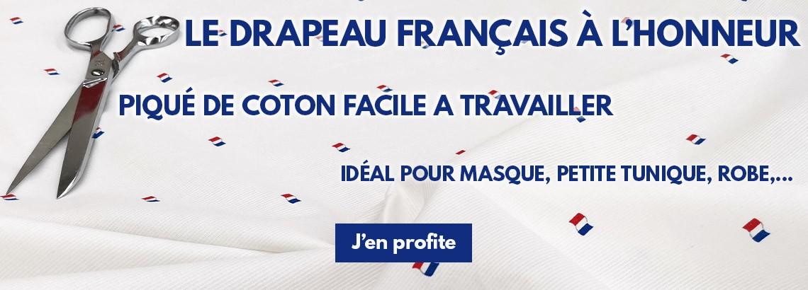 Piqué de coton drapeau français
